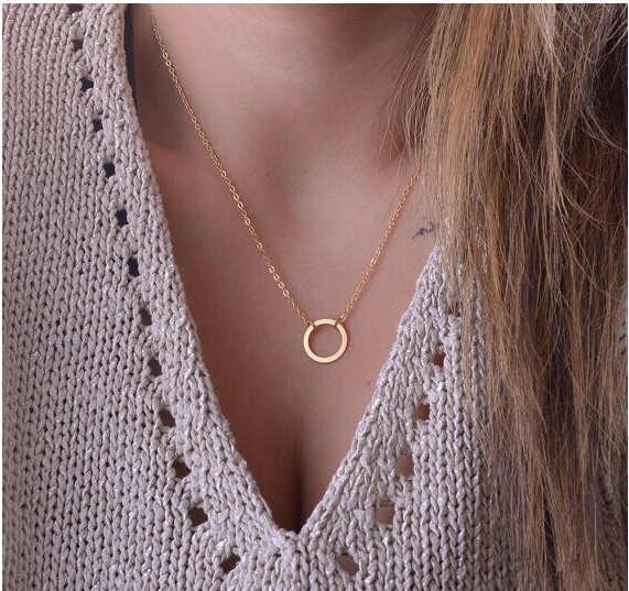 Moda damska minimalistyczny proste koło wisiorki naszyjnik łańcuszkowy ND302