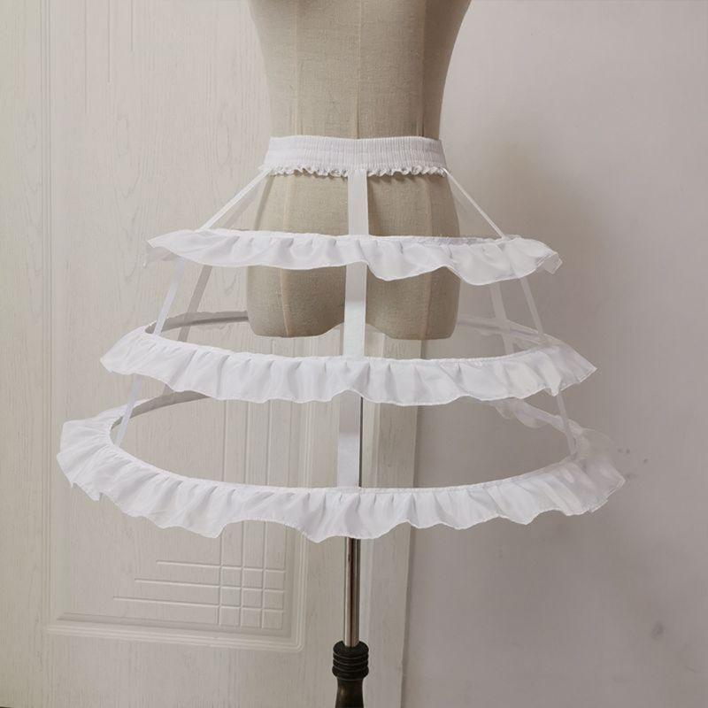 Women 3-Hoop Petticoat Skirt Hollow Out Ruffles Japanese Lolita Dress Pannier Bird Cage Wedding Cosplay Crinoline Underskirt