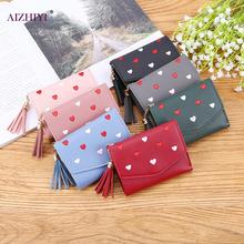 New Love Heart Tassel Women Wallet Short Large Capacity Coin