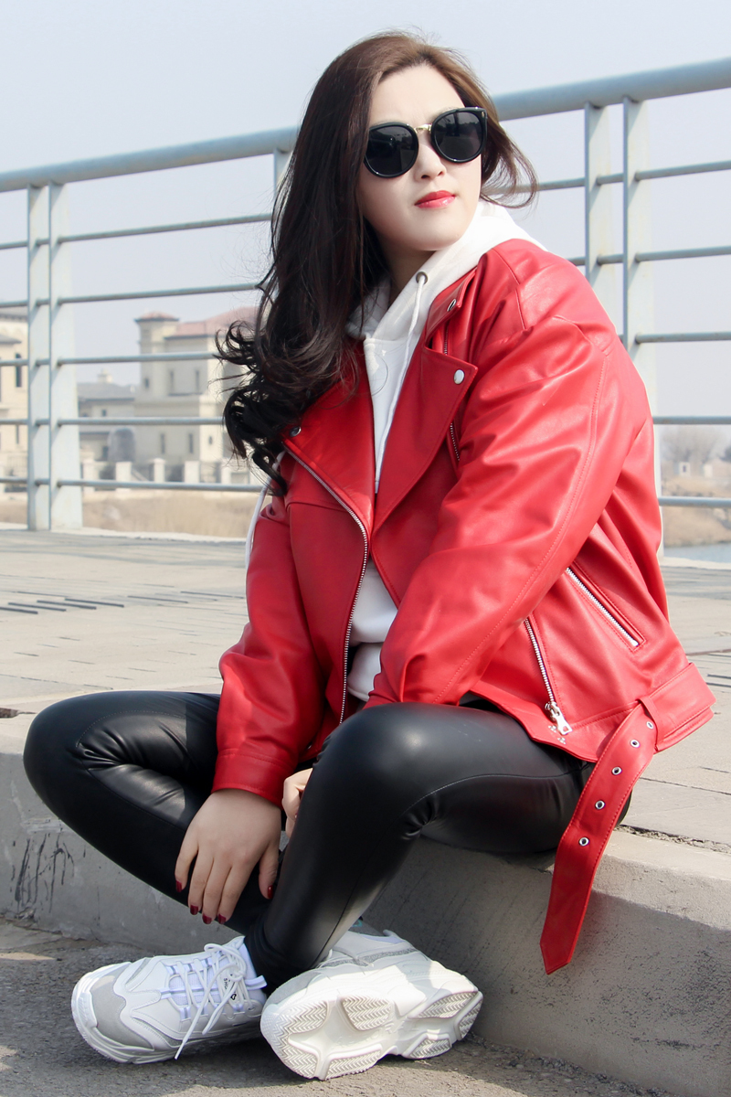 Free Shipping,2020 Genuine Leather Woman Slim Jackets.fashion Motorbiker Plus Size Female Sheepskin Jacket,quality Leather Coat