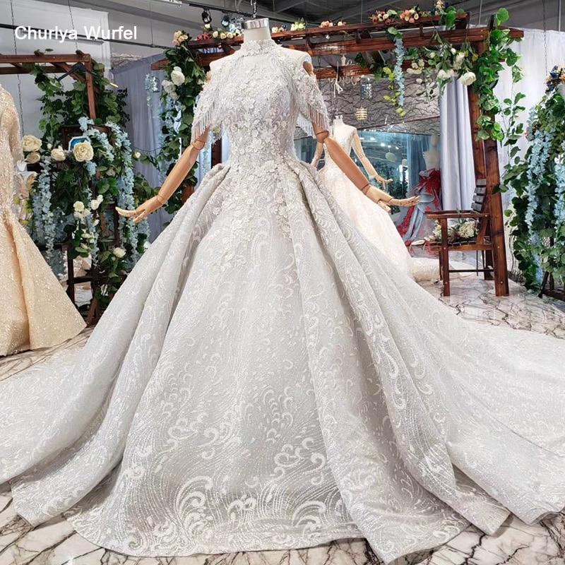 HTL691 Ball Gown Evening Dress With Train High Collar Chain Appliques Beading Luxury Long Prom Dresses Plus Size Vestiti Da Sera