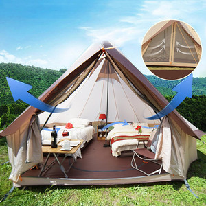 Image 5 - Large Space Mongolia Yurt Tent 8 10 Person Outdoor Waterproof Oxford Family Tent for Self drive Camping Wild Survival Picnic