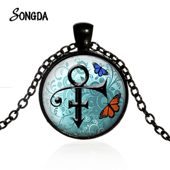 Minimalism Prince Rogers Nelson Necklace Artist Singer RIP Memorial Love Symbol Glass Crystal Pendant 4 Color Long Chain image