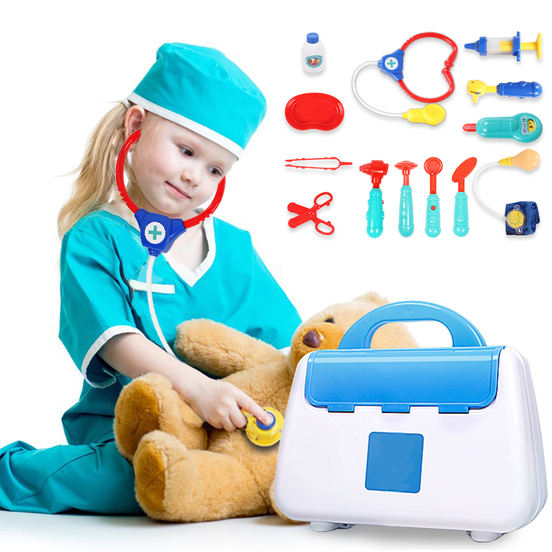 13 Pcs Children Pretend Play Doctor Toy Set Portable Backpack Medical Kit Medical Kit Role Play Classic Toys For Children