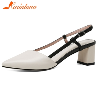 Karinluna New Arrivals Genuine Cow Leather Buckle Strap Summer Sandals Woman Shoes Mix Color Chunky Heels Shoes Women
