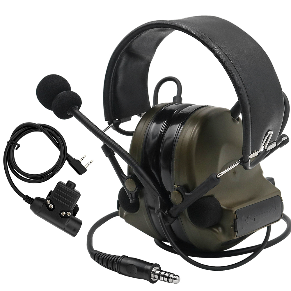 Comtac II Tactical Headset Military Headphones Noise Reduction Sound Pickup Ear Protection FG+ U94 PTT Kenwood 2 Pin Plug