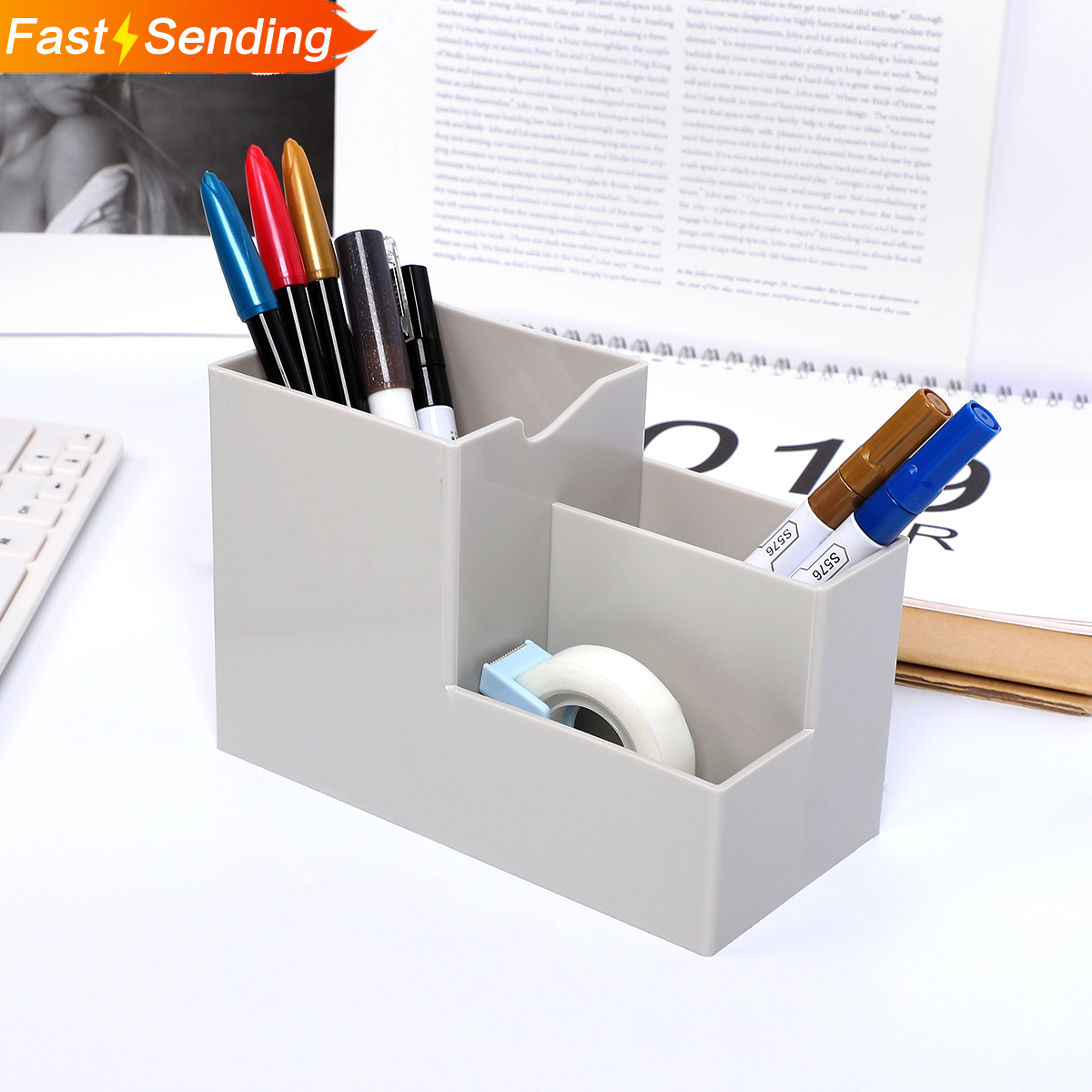 JIANWU 1pc Creative Multi-function Penholder Desktop Debris Storage Box Cute Desk Accessories Kawaii Desk Organizer
