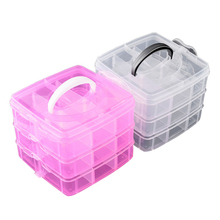 3 Layers Portable Plastic Case Nail Sequins Rings Earrings Jewelry Storage Box Layer Detachable Grids Organizer For Necklace