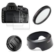 UV 필터 + EW63 렌즈 후드 + 캡 + 캐논 EOS 200D 마크 II 250D 반란군 SL2 SL3 18 55mm 렌즈 용 2x 유리 스크린 프로텍터