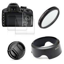 UV FILTER + EW63 เลนส์ + หมวก + 2x สำหรับ Canon EOS 200D Mark II 250D rebel SL2 SL3 เลนส์ 18 55 มม.