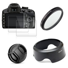 UV Filter + EW63 Lens Hood + Cap + 2x Glass Screen Protector for Canon EOS 200D Mark II 250D Rebel SL2 SL3 18 55mm Lens