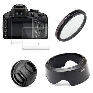 Image 1 - Uv Filter + EW63 Zonnekap + Cap + 2x Glas Screen Protector Voor Canon Eos 200D Mark Ii 250D rebel SL2 SL3 18 55 Mm Lens