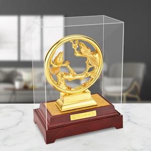 Image 1 - 3Dゴールドカササギ置物装飾品 24 18kゴールド箔結婚式の装飾ラッキー富デスクトップ工芸品ホームオフィスの装飾の結婚ギフト