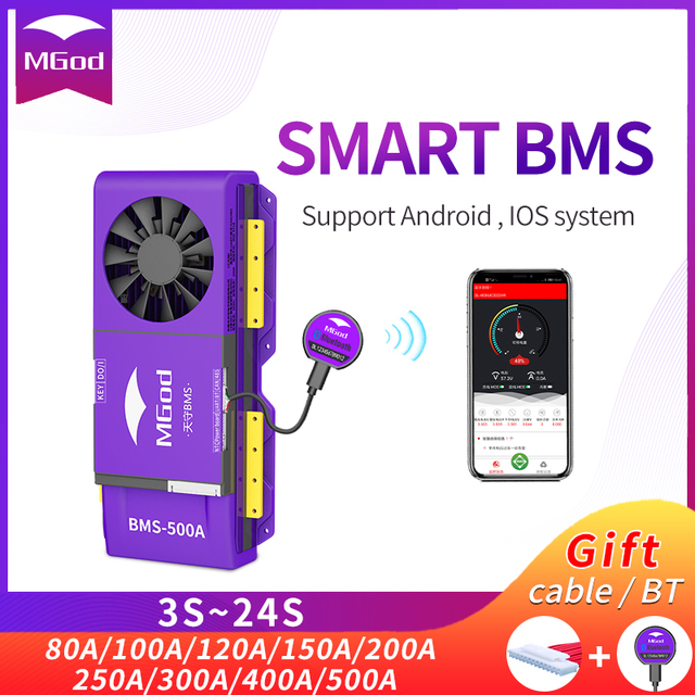 Smart BMS Lifepo4 4S~20S 12V 48V Bluetooth for Lithium Battery Applied to Power Supply of Outdoor Emergency /Household/RV /ATV