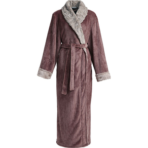 Image 3 - Frauen Winter Plus Größe Lange Flanell Bademantel Kimono Warme Rosa Bad Robe Nacht Pelz Roben Brautjungfer Morgenmantel Männer Nachtwäsche