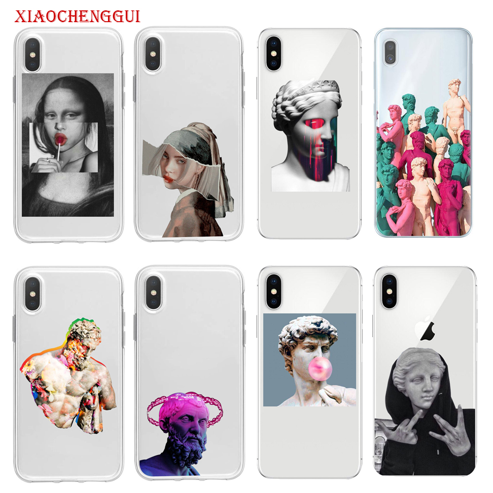 Cute Phone Soft <font><b>Case</b></font> For <font><b>Samsung</b></font> galaxy A10 <font><b>A20</b></font> A30 A40 A50 A60 A70 A80 S8 S9 plus Vintage <font><b>Funny</b></font> Statue David Clear Phone Cover image