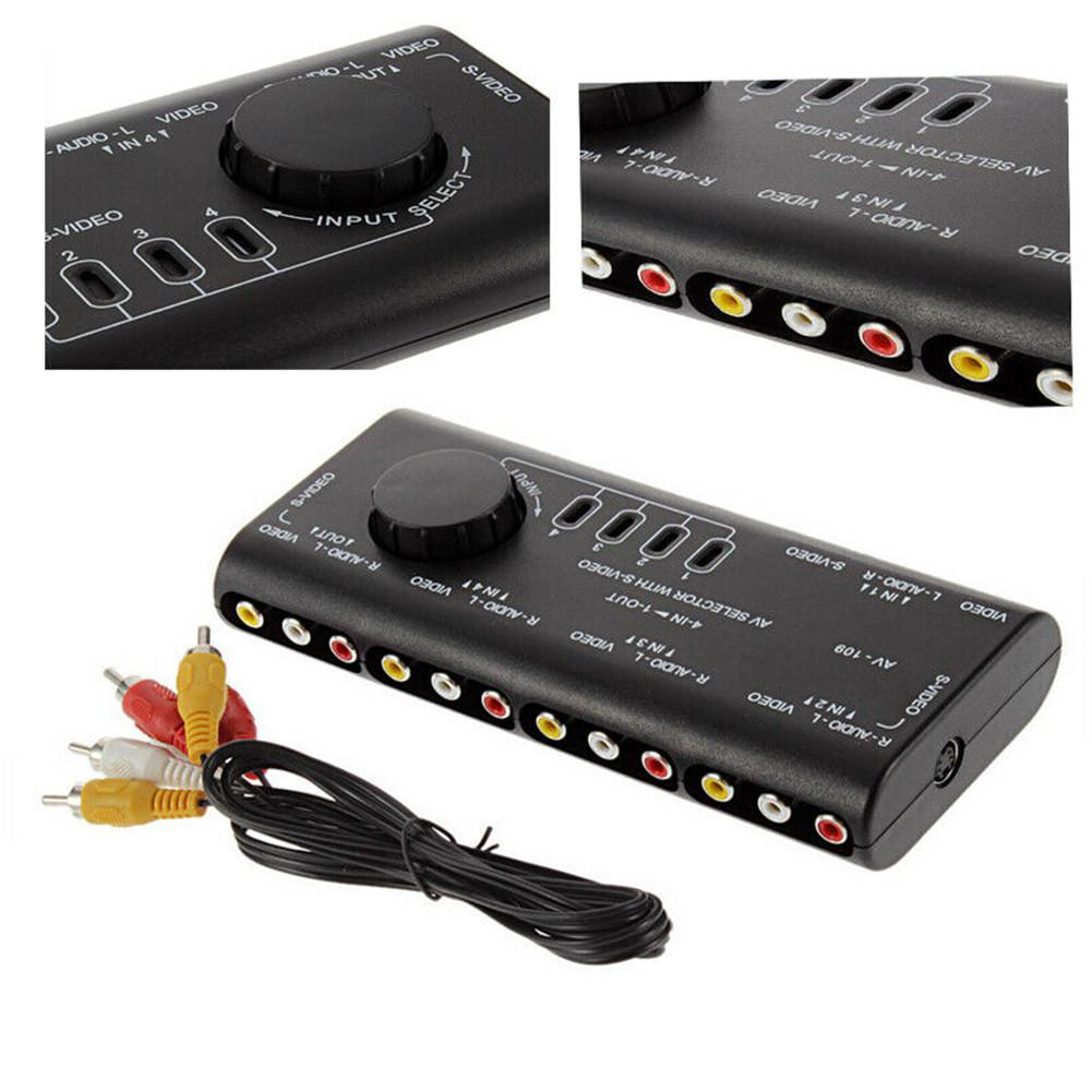 4 In 1 Out AV RCA Switch Box Audio Video Signal 4 Input 1 Output Adapter Black Converter With RCA Cable For Television DVD TV