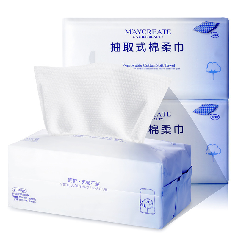 New Arrivals 100pc Disposable Cotton Draw Paper Soft Face Wash Paper Towel Travel Plain Weave Wet Wipes Wet And Dry Paper Towels