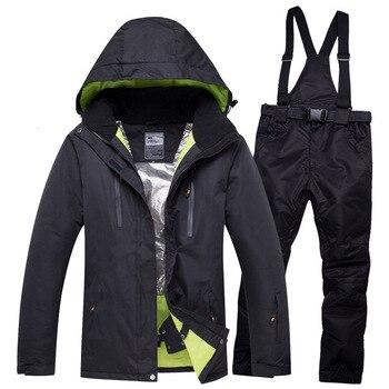 Ski Suit Set For Men And Women 2019 New Skiing Jacket Overall Pants 2pcs Set Outdoor Ski Wear Waterproof Skiing Jacekt Coat