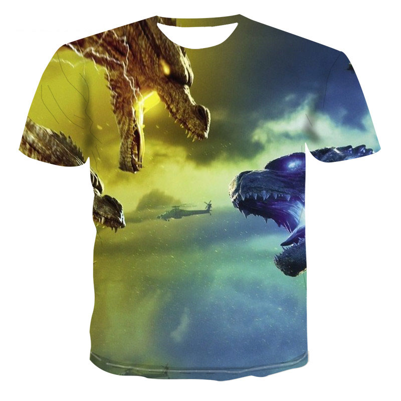 Dragon Graphic T-shirt Animal Theme Men's T-shirt 3D Fashion Tops Summer Casual T-shirt Men's O-Neck Shirt Large Size Streetwear