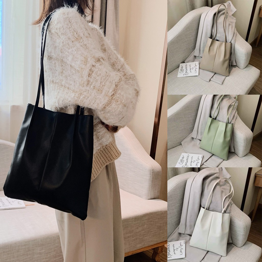 2019 Tote Bag Women's Solid Color Reusable Shopping Bag 2PC Fashion Shoulder Bag Handbag PU Simple Small Bag*