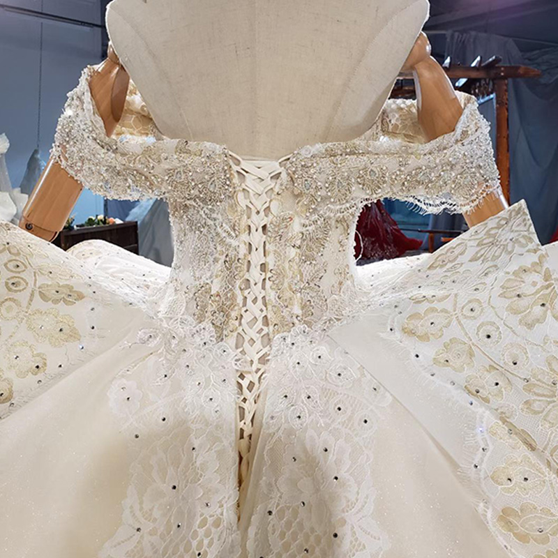 HTL1827 Extravagant Boat Neck Crystal Sequined Beading Wedding Dress 2020 Short Sleeve Applique Ball Gowns 6