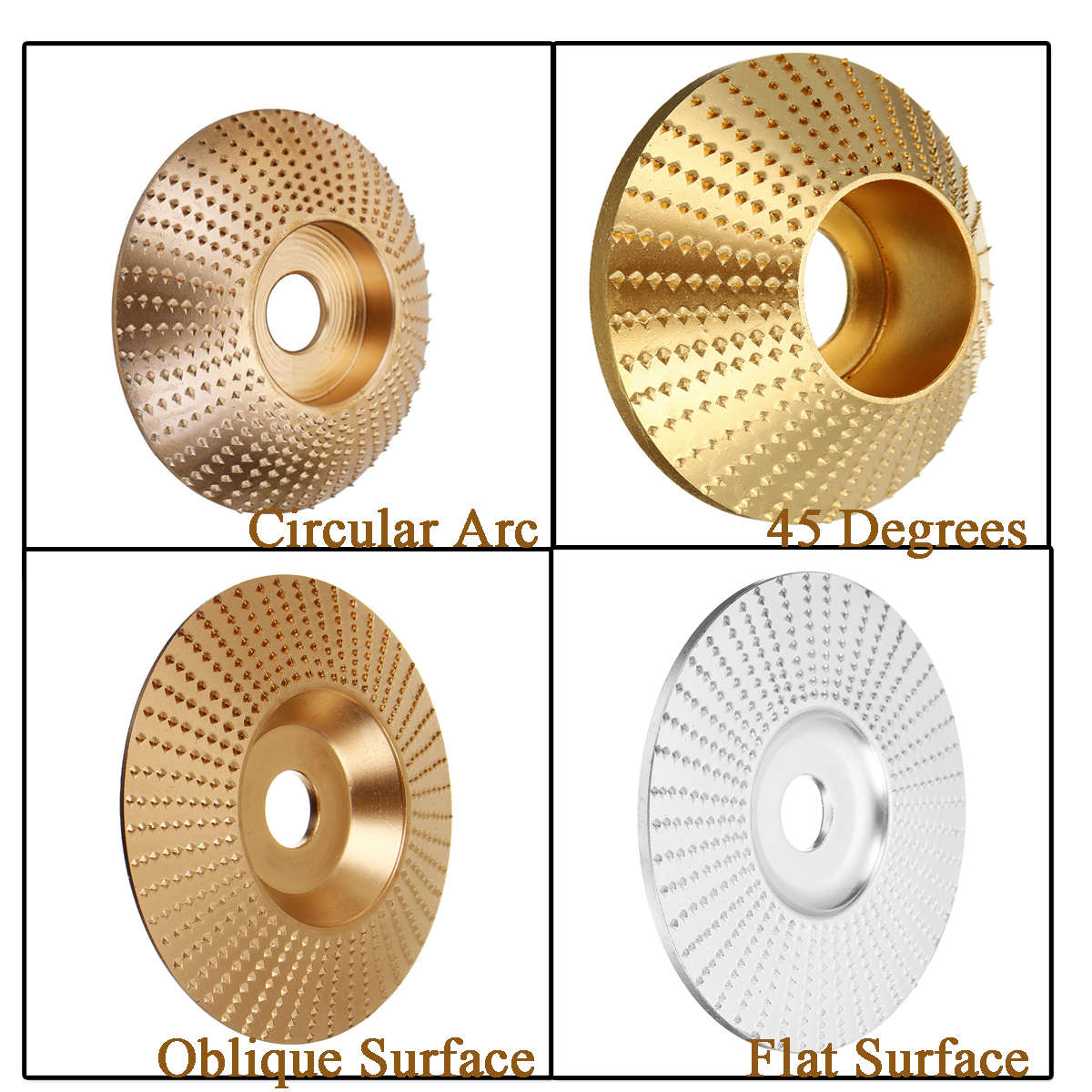 Wood Grinding Wheel Angle Grinder Disc Wood Carving Disc Sanding Abrasive Tool 75/85/100mm Silver/gold