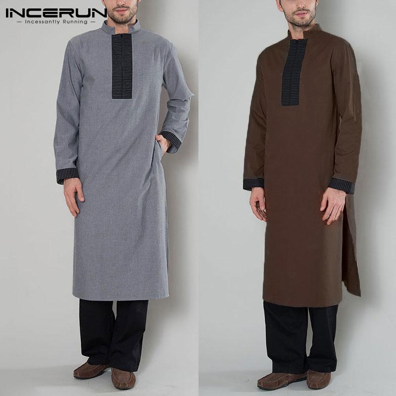 INCERUN Arabic Islamic Kaftan Men Muslim Clothes Patchwork Long Sleeve Vintage Robes Dubai Saudi Arabia Men Jubba Thobe 2019 5XL