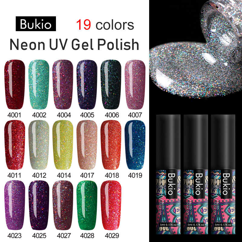 Bukio 5ml Glitter Neon GEL เล็บกึ่งถาวรเล็บออกแบบใหม่ Soak Off UV GEL เคลือบเงา need BASE Top Coat