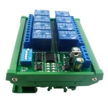 DC 12V 8 Channel RS485 Relay Module Modbus RTU UART Remote Control Switch DIN35 C45 Rail Box for PLC PTZ Camera Security Monito