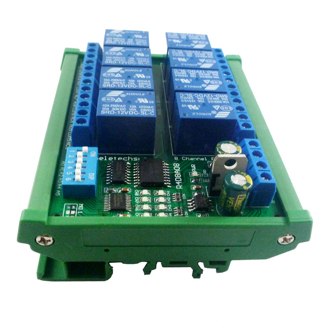 DC 12V 8 Channel RS485 Relay Module Modbus RTU UART Remote Control Switch DIN35 C45 Rail Box for PLC PTZ Camera Security Monito