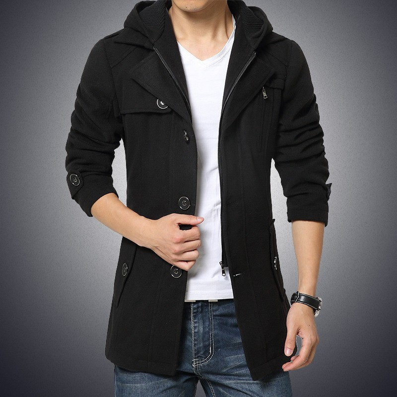 Brand New Mens Long Sleeve Single Breasted Stand Collar Hooded Coats Fashion Solid Sashes Slim Fit Medium Length Woolen Coats