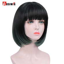 цена на AOSI Straight Mix Green Synthetic Wigs With Bangs For Women Short Hair Bob Cosplay Wig Heat Resistant bobo Hairstyle