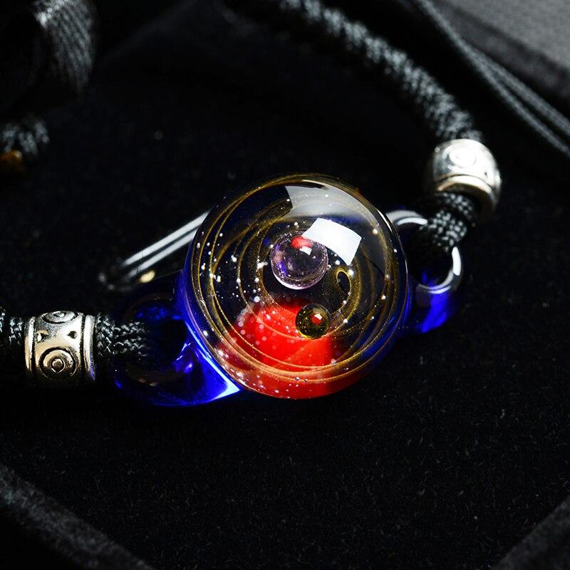 BOEYCJR, горячая Распродажа, Вселенная, планеты, стеклянные браслеты из бисера и браслеты, модные ювелирные изделия, галактика, солнечная система, браслет для женщин, Рождество - Окраска металла: 8