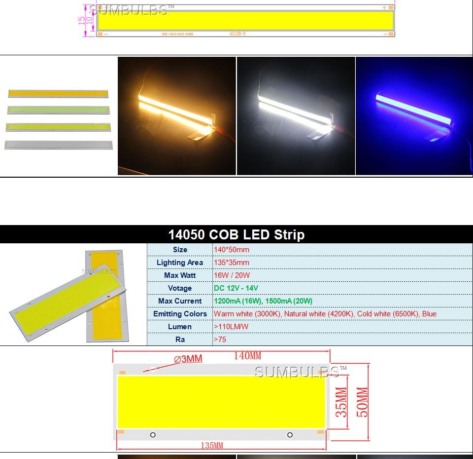 DC12V COB LED Strip Light Source 5W 10W 20W 50W 200W 300W LED Bulb White Blue Red Flip Chip COB Lamp DIY House Car Lighting 12V (8)