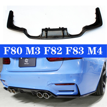 цена на M3 M4 Real Carbon Rear Diffuser Bumper Lip For BMW 3 Series F80 M3 4 Series F82 F83 M4 Gloss Black 3D Style