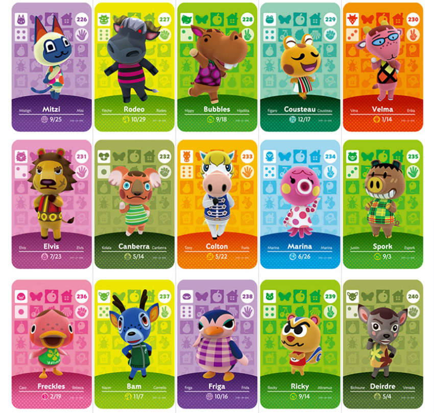 Series 1-4 (001 To 400) Animal Crossing Card Amiibo Card Work For NS Switch Game New Horizon Merengue Maple Apollo Francine Card