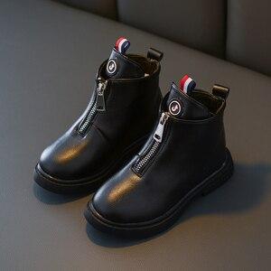 Image 5 - 2019 outono moda meninas botas de couro coreano tornozelo botas escola meninas grandes preto branco inverno botas para crianças tamanho 27 37