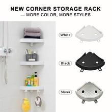 Estante de ducha de baño estante de almacenamiento de esquina multifuncional 2 ganchos para colgar la toalla soporte de champú succión