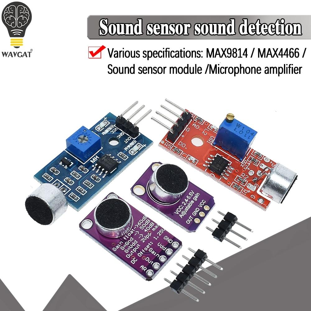 Venda módulo sensor de som sensor de controle de som max4466 max9814switch detecção apito interruptor microfone amplificador para arduino