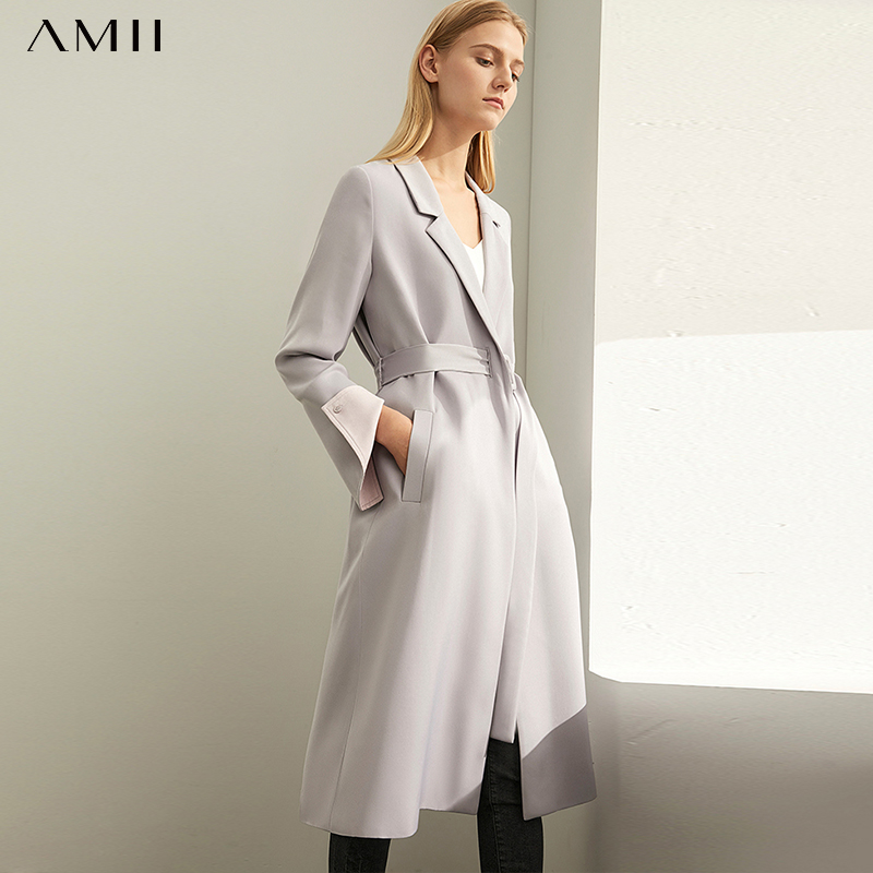 Amii Elegant Trench Coat Autumn Women Solid Loose Turn Down Collar Pockets Casual Female Long Jackets 11940379