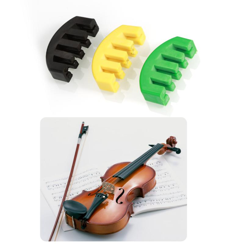 1x Rubber Violin Practice Silent Fast String Muffler Yellow / Green / Black Violin Musical Instrument Accessories