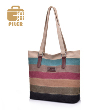 Women Bags Handbags Canvas Print Shopper Bag Rainbow Striped Beach Tote Ladies Girls Shoulder Bag Casual Purse Canvas Messenger Bag