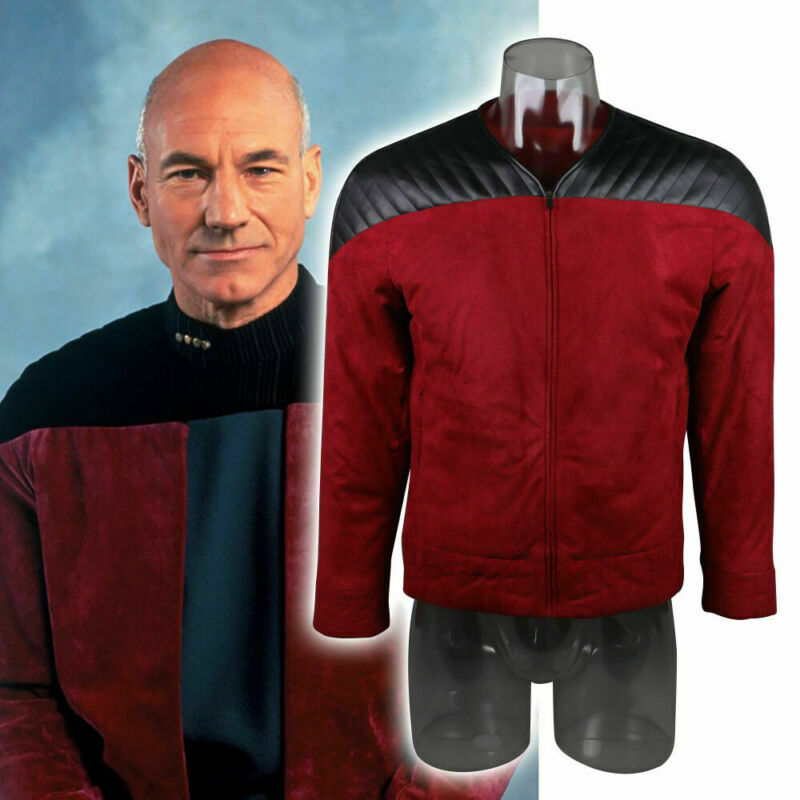 Star The Next Generation Trek Captain Picard Duty Uniform Jacket TNG Red Costume Man Winter Coat Warm Cosplay Costume Prop