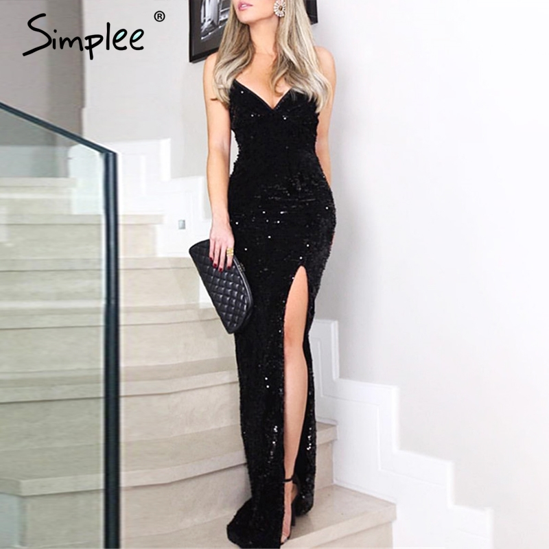 Simplee Sexy V-neck Sequined Long Dress Women Spaghetti Strap Split Plus Size Dresses Elegant Bodycon Party Vestidos De Fiesta