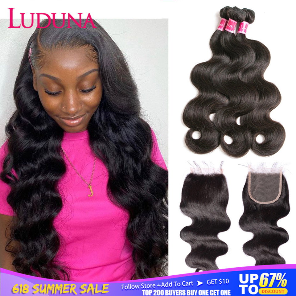 Luduna Body Wave Bundles With Closure Brazilian Hair Bundles With Closure Human Hair Closure With Bundle Remy Hair Extension