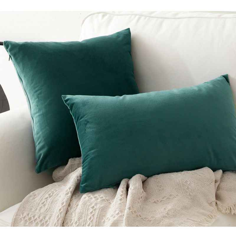 1pc soft emerald green velvet pillow case cushion cover dark green pillow cover no balling up without stuffing funda cojin