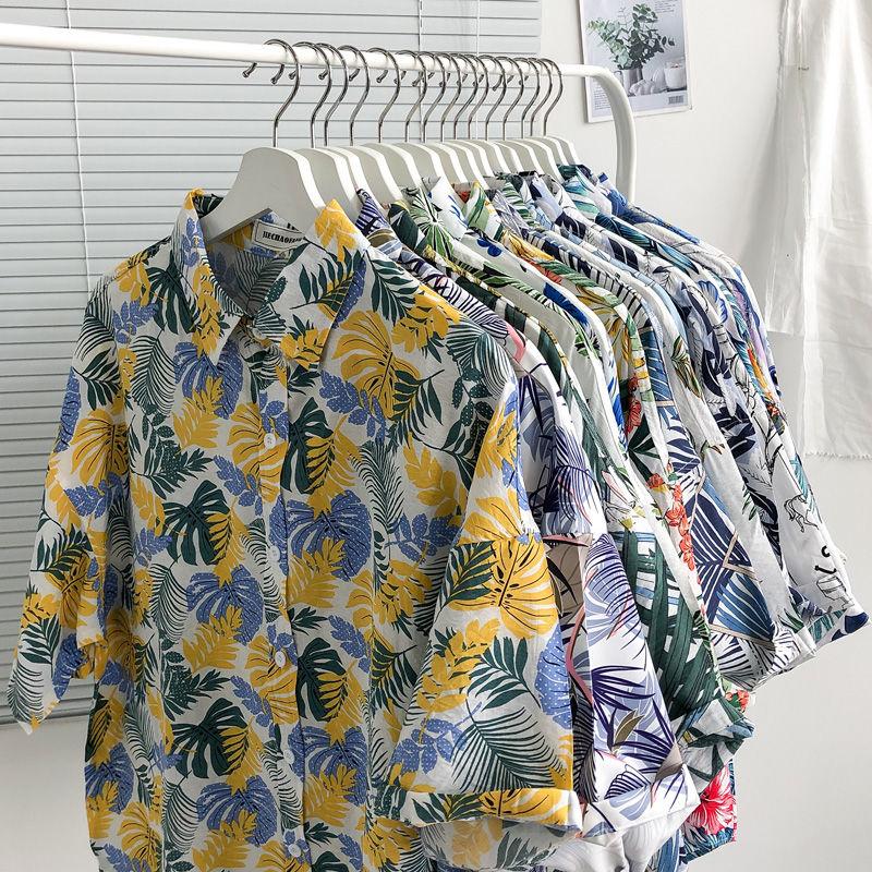 15 Color Shirt 2020 Summer Men's Fashion Floral Printing Casual Shirt Loose Clothes Cotton Short Sleeve Casual Shirt M-2XL