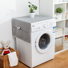 Gray Geometry Refrigerator Cover Cloth Refrigerator Dust Cover Garden Double Open Refrigerator Coverwashing Machine Cover customized dust cover engraving machine dust cloth dust cover for cnc machine