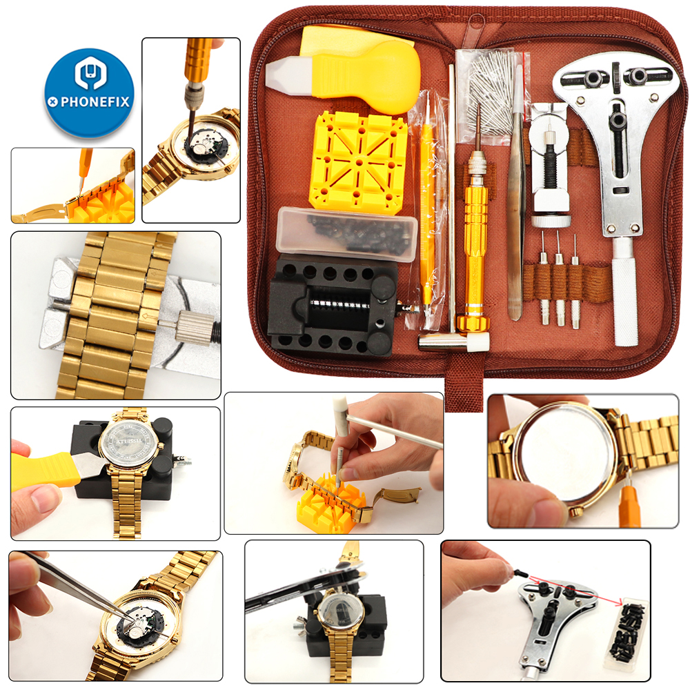 149Pcs Watch Repair Kit Spring Bar Tool Set Screwdriver Watch Case Opener Watch Battery Replacement Tool Kit With Carrying Case